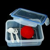 2 compartment lunch box with fork spoon