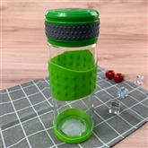 Glass Water Bottle with Silicone Sleeve and No Spill Lid Daily Intake Drink Tumbler