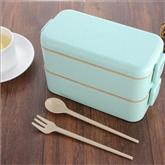 800ml Double Layer Wheat Straw Food Lunch Box Portable with Two Sides Lock
