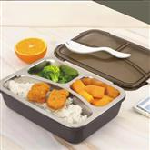 3 Compartments 304 Stainless Steel Leakproof Lunch Box for Hot Food with Removable Tray